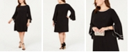 MSK Plus Size Rhinestone-Trim Bell-Sleeve Dress