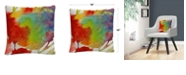 "Baldwin Rainbow Flowers Abstract Bold Motif 16x16"" Decorative Throw Pillow by Sheila Golden"