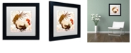 "Trademark Global Color Bakery 'Rooster Damask Ii' Matted Framed Art, 11"" x 11"""