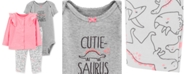 Carter's Baby Girls 3-Pc. Dino-Print Cotton Bodysuit, Pants & Cardigan Set