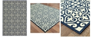 """Oriental Weavers Marina 5927B Ivory/Navy 1'9"""" x 3'9"""" Indoor/Outdoor Area Rug"""