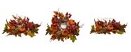 Nearly Natural Pumpkin, Gourd, Berry and Maple Leaf Artificial Arrangement Candelabrum