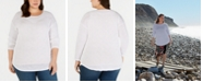 INC International Concepts I.N.C. Plus Size Pointelle Crewneck Sweater, Created for Macy's