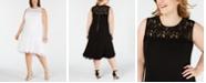 Calvin Klein Plus Size Illusion-Lace High-Low Midi Dress