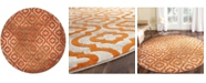 "Safavieh Porcello Light Gray and Orange 6'7"" x 6'7"" Round Area Rug"