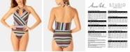 Anne Cole Studio Sahara Stripe High-Neck One-Piece Swimsuit