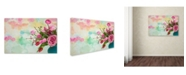 """Trademark Global Cora Niele 'Pink Flowers And Watercolor Painting' Canvas Art - 32"""" x 22"""" x 2"""""""
