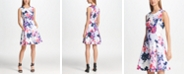 DKNY Floral Print Scuba Fit & Flare Dress