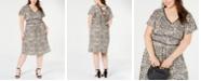 Monteau Juniors' Trendy Plus Size Animal-Print Dress