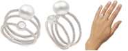 Macy's 2-Pc. Set Cultured Freshwater Pearl (8mm) & White Topaz (1/3 ct. t.w.) Stack Rings in Sterling Silver