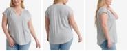Lucky Brand Plus Size Striped Notch Neck Top