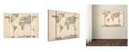 "Trademark Global Michael Tompsett 'Old Sheet Music World Map' Multi Panel Art Set Small - 32"" x 24"" x 2"""