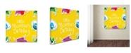 "Trademark Global Jimmy Messer 'LittleMontsterRepeat Pattern Orange' Canvas Art - 24"" x 24"" x 2"""