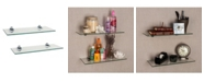 "Danya B Set of 2 Glass Floating Shelves with Chrome Brackets 16"" x 6"""