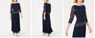 J Kara Beaded-Overlay Gown