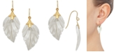 Macy's Mother-of-Pearl Leaf Drop Earrings in 10k Gold