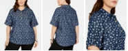 NY Collection Plus Size Star-Print Cuffed-Sleeve Top