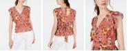 Gypsies & Moondust Juniors' Floral-Print Ruffle-Sleeve Top
