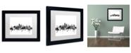 """Trademark Global Michael Tompsett 'Kansas City Skyline B&W' Matted Framed Art - 11"""" x 14"""""""
