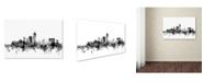 "Trademark Global Michael Tompsett 'Indianapolis IN Skyline B&W' Canvas Art - 12"" x 19"""