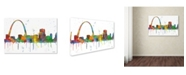 "Trademark Global Marlene Watson 'Gateway Arch St Louis Skyline Mclr-1' Canvas Art - 12"" x 19"""