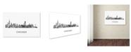 "Trademark Global Marlene Watson 'Chicago Illinois Skyline WB-BW' Canvas Art - 12"" x 19"""