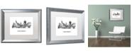 "Trademark Global Marlene Watson 'Cincinnati Ohio Skyline WB-BW' Matted Framed Art - 16"" x 20"""
