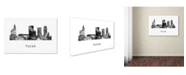 "Trademark Global Marlene Watson 'Tulsa Oklahoma Skyline WB-BW' Canvas Art - 12"" x 19"""