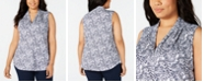 Charter Club Plus Size Printed Popover Top, Created for Macy's