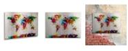 "Trademark Global Michael Tompsett 'Paint World Map' Floating Brushed Aluminum Art - 16"" x 22"""
