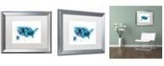 """Trademark Global Michael Tompsett 'US Paint Splashes Map' Matted Framed Art - 16"""" x 20"""""""