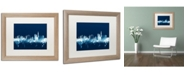 "Trademark Global Michael Tompsett 'London England Skyline Navy' Matted Framed Art - 16"" x 20"""