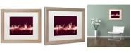 """Trademark Global Michael Tompsett 'London England Skyline Maroon' Matted Framed Art - 16"""" x 20"""""""