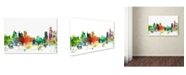 "Trademark Global Marlene Watson 'Detroit Michigan Skyline SP' Canvas Art - 16"" x 24"""