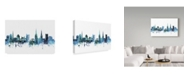 "Trademark Global Michael Tompsett 'Coventry England Blue Teal Skyline' Canvas Art - 19"" x 12"""