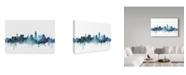 """Trademark Global Michael Tompsett 'Lincoln Nebraska Blue Teal Skyline' Canvas Art - 19"""" x 12"""""""