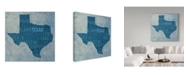 "Trademark Global Red Atlas Designs 'Texas State Words' Canvas Art - 18"" x 18"""