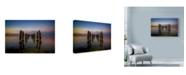 "Trademark Global Lincoln Harrison 'Broken Pier In Water' Canvas Art - 19"" x 12"""