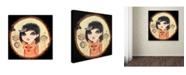 """Trademark Global Wyanne 'Big Eyed Girl Fox & Hedgehog' Canvas Art - 24"""" x 24"""""""
