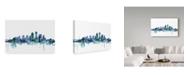 """Trademark Global Michael Tompsett 'Louisville Kentucky Blue Teal Skyline' Canvas Art - 47"""" x 30"""""""