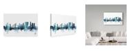 "Trademark Global Michael Tompsett 'Rotterdam Blue Teal Skyline' Canvas Art - 24"" x 16"""
