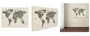"""Trademark Global Michael Tompsett 'Cats World Map 2' Canvas Art - 24"""" x 16"""""""