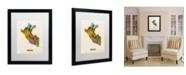 """Trademark Global Michael Tompsett 'Peru Watercolor Map' Matted Framed Art - 20"""" x 16"""""""
