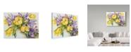 "Trademark Global Joanne Porter 'Yellow Tulips With Blue Iris' Canvas Art - 14"" x 19"""