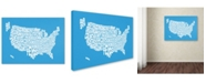 "Trademark Global Michael Tompsett 'AZUL-USA States Text Map' Canvas Art - 14"" x 19"""