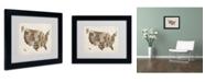 """Trademark Global Michael Tompsett 'USA States Text Map 2' Matted Framed Art - 14"""" x 11"""""""