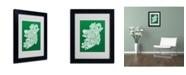 """Trademark Global Michael Tompsett 'FOREST-Ireland Text Map' Matted Framed Art - 14"""" x 11"""""""