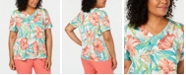 Alfred Dunner Plus Size Coastal Drive Tropical Floral-Print Top