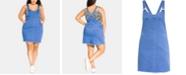 City Chic Trendy Plus Size Denim Pinafore Dress