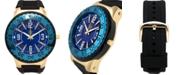 Louis Richard Pendragon Men's Watch Black Silicone Strap, Gold Case, Blue Dial, 53mm